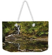 Fall Waterfall Creek Reflection Weekender Tote Bag by Christina Rollo