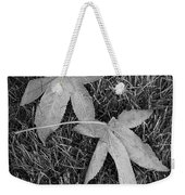 Fallen Autumn Leaves In The Grass During Morning Frost Weekender Tote Bag