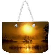 Fallen Tree In Misty Sunrise At Weekender Tote Bag