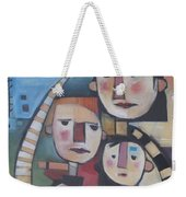 Family In Garden With Cat Weekender Tote Bag