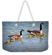Family Of Geese Out For A Swim Weekender Tote Bag