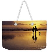 Family On Beach With Dog Sunset Weekender Tote Bag