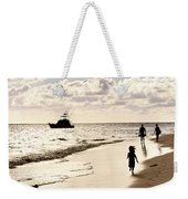 Family On Sunset Beach Weekender Tote Bag