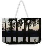 Family Silhouetted By Lake Weekender Tote Bag