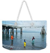 Family Surf Fishing In Kachemak Bay Off Homer Spit-ak Weekender Tote Bag