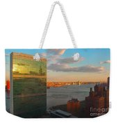United Nations Secretariat With Chrysler Building Reflection Weekender Tote Bag