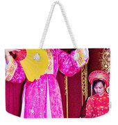 Fan Dancer And Monochord Player In Court Music Show At Citadel Of Nguyen Dynasty In Hue-vietnam Weekender Tote Bag
