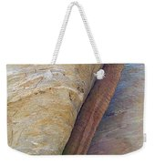 Fan Palm Forced Into A Slant By Rock In Andreas Canyon-ca Weekender Tote Bag