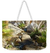 Fan Palm Leaves And Shadows Over Andreas Creek Rocks In Indian Canyons-ca Weekender Tote Bag