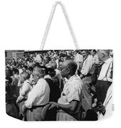 Fans At Yankee Stadium Stand For The National Anthem At The Star Weekender Tote Bag