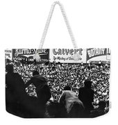 Fans In The Bleachers During A Baseball Game At Yankee Stadium Weekender Tote Bag by Underwood Archives