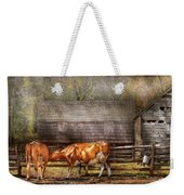 Farm - Cow - A Couple Of Cows Weekender Tote Bag by Mike Savad