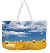 Farm Field With Hay Bales Weekender Tote Bag