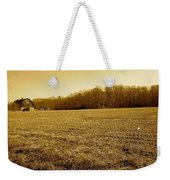 Farm Field With Old Barn In Sepia Weekender Tote Bag