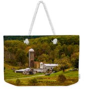 Farm View With Mountains Landscape Weekender Tote Bag