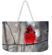 Fat Cardinal In The Snow Weekender Tote Bag