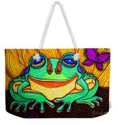 Fat Green Frog On A Sunflower Weekender Tote Bag