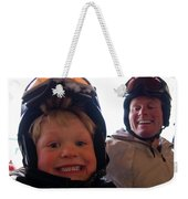 Father And Son At Big Mountain Weekender Tote Bag