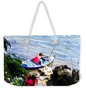 Father And Son Launching Kayaks Weekender Tote Bag