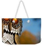 Faux Owl With Golden Eyes Weekender Tote Bag