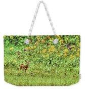 Fawn In Flowers Weekender Tote Bag