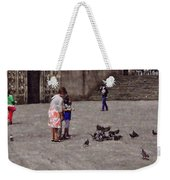 Feeding Pigeons In Santiago De Compostela Weekender Tote Bag by Mary Machare