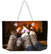 Feet Warming By Fireplace Weekender Tote Bag