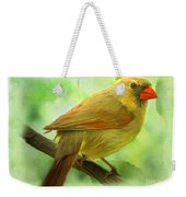 Female Cardinal In Elm Tree - Digital Paint Weekender Tote Bag