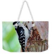 Female Downy Woodpecker Weekender Tote Bag