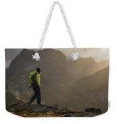 Female Hiker On Summit Of Tverrfjellet Weekender Tote Bag