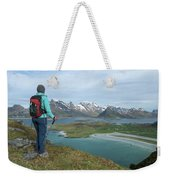 Female Hiker With Over Yttersand Beach Weekender Tote Bag