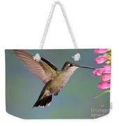 Female Magnificent Hummingbird At Flower Weekender Tote Bag