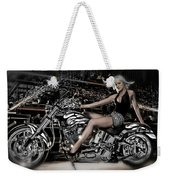 Female Model With A Motorcycle Weekender Tote Bag