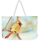Female Northern Cardinal - Digital Paint I Weekender Tote Bag