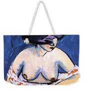 Female Nude With Hat Weekender Tote Bag