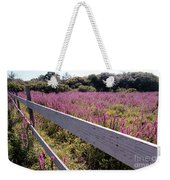 Fence And Purple Wild Flowers Weekender Tote Bag