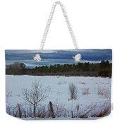 Fence And Snowy Field Weekender Tote Bag