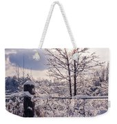 Fence And Tree Frozen In Ice Weekender Tote Bag