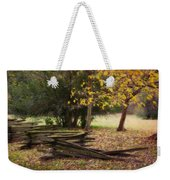 Fence And Tree In Autumn Weekender Tote Bag