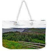 Fence In Fields At Long Point In Twillingate-nl Weekender Tote Bag
