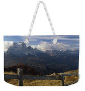 Fence With A Mountain Range Weekender Tote Bag