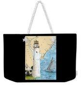 Fenwick Island Lighthouse De Nautical Chart Map Art Cathy Peek Weekender Tote Bag