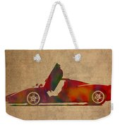 Ferrari Enzo 2004 Classic Car Watercolor On Worn Distressed Canvas Weekender Tote Bag