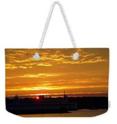 Ferry At Sunset Weekender Tote Bag