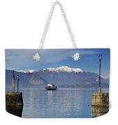 Ferry Boat On An Alpine Lake Weekender Tote Bag