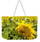 Field Of Blooming Yellow Sunflowers To Horizon Weekender Tote Bag