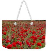 Field Of Poppies At The Lake Weekender Tote Bag