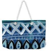 Fiesta In Blue- Colorful Pattern Painting Weekender Tote Bag by Linda Woods
