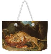 Fight Between A Lion And A Tiger, 1797 Weekender Tote Bag by James Ward