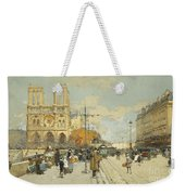 Figures On A Sunny Parisian Street Notre Dame At Left Weekender Tote Bag